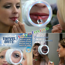 8x Magnifying Glass Travel Makeup Mirror With LED Lights Swivel Brite Cosmetic