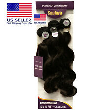 8A Peruvian Body Wave Virgin Human Hair 3 Bundles+Closure 1pk Solution