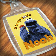 Personalised COOKIE MONSTER KEYRING, Lunch Bag, son daughter grandson nephew