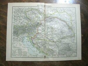 mappa antica old map AUSTRIA UNGHERIA JUGOSLAVIA CROAZIA BOSNIA MONTENEGRO 1889