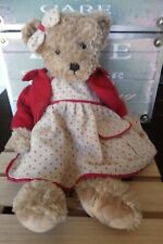 Peluche ours Flavy robe lin pois rouge gilet rouge Louise Mansen 40 cm