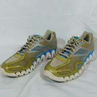 Reebok Womens White Blue Silver Green ish Zig Tech Zig Fuel Running Shoes Sz 10