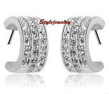 White Gold Filled Clear 8MM Wide Band Earring Made With Swarovski Crystal IE86