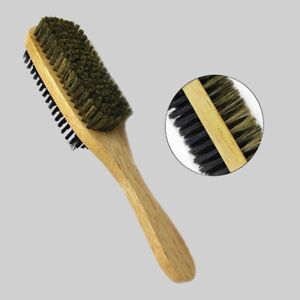 Double Side Mustache Bristles Beard Brush Wave Hair Brush with Wooden Handle