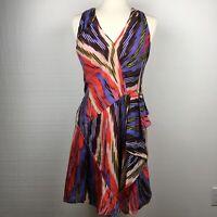 Nanette Lepore Dress 6 Womens Multicolor Ikat Print Silk Sleeveless