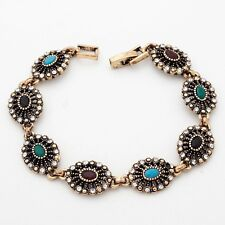 Bosnian Eight Multi-Color Oval Cubic Zircon Gold Plated 19 cm Lady Bracelet
