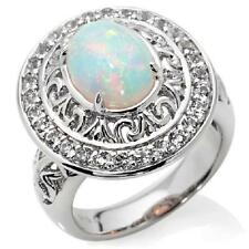VICTORIA WIECK STERLING SILVER ETHIOPIAN OPAL TOPAZ FRAME RING SZ 8 HSN SOLD OUT