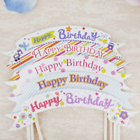 Happy Birthday Cake Cupcake Bunting Banner Flag Food Topper Party Picks LovelyOA