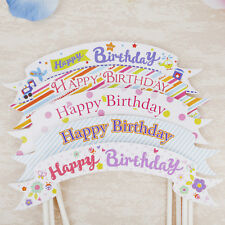 Happy Birthday Cake Cupcake Bunting Banner Flag Food Topper Party Picks Lovely@#