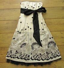 NEXT Size 6 Beige Black Floral Flower Dress Wedding Cocktail BNWT