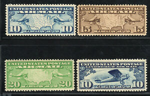 US Airmail Airpost Set of 4 Mint MNH F/VF VF - C7 C8 C9 C10 Maps, Lindbergh