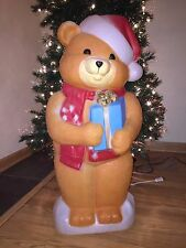 """Vintage 35"""" Christmas Empire Gift Giving Bear w/ Santa Hat Lighted Blow Mold #2"""