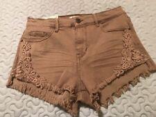 Ladies Jrs. Mudd Olive Green Denim Lace Shortie High Rise Stretch Shorts 9 NWT