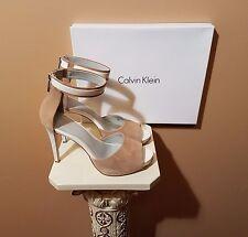 CALVIN KLEIN Open Toe High Heel Stiletto Sandals, Natural & White, US 10