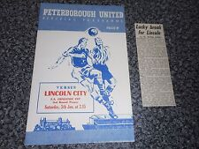 PRE-LEAGUE  PETERBOROUGH UNITED  v  LINCOLN CITY  1956/7 F A CUP + MATCH  REPORT