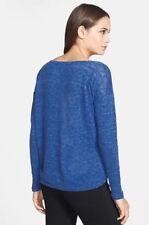 1X Eileen Fisher DeepSky Blue Organic Linen Jersey Melange Bateau Neck Wedge Top
