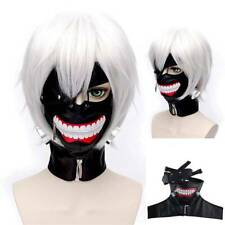 Halloween Tokyo Ghoul Kaneki Ken Cosplay Prop PU Zipper Mask Wig Party Decor UK