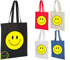 Smiley Smile Happy Yellow Face Grocery Travel Reusable Tote Bag Shopper Gift