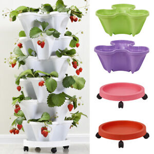 Plastic Strawberry Pots Stackable Tower Garden Vegetable Flower Pots Tray Saucer