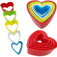 5 Cookie Cutter Biscuit HEART Shape Pastry Plastic Mould Baking Mold Tools Decor