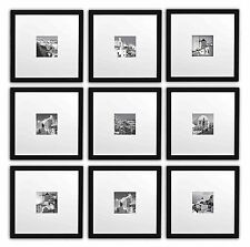 Instagram Frames,Set of 9, 11x11 Square Photo Wood Frames for 4x4 photo,black