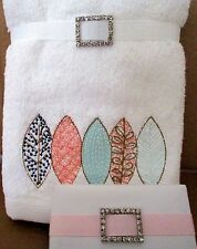 2 HAND TOWELS PASTEL LEAF DESIGN + SOAP BAR TIED WITH RIBBON & DIAMANTE CLASP