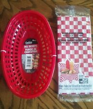 Red Basket & Waxed Liners Deli BBQ Sandwich Burger Hot Dog Picnic Food Catering
