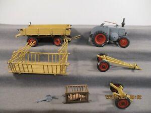 Pola Spur G Landmaschine Traktor mit Anhänger und Ladung Set 9-teile o. OVP P238