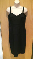 DIANE VON FURSTENBERG 12 Navy Blue Stretch Fitted Dress Occasion Bodycon 14 M