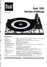 Service Manual-Anleitung für Dual 1216