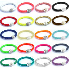 Shamballa Bracelet Magnetic Rhinestone Buckle Bangle Leather Wristband New CN