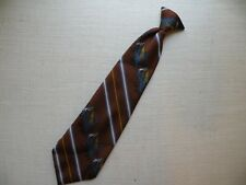 Vintage Mens Clip-on Neck Tie Barry of London Necktie Clip On Tie Brown cannons
