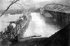 Photograph shows a bridge over the Morava River, Serbia during World War I-1920