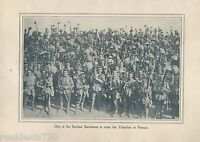 """Original 1917 Anzac Print  - Antique Vintage """"One of the Earliest Battalions to"""