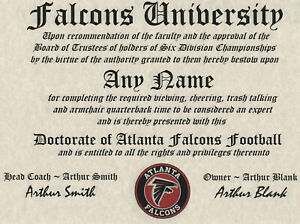 ATLANTA FALCONS  NFL FAN  ~ CERTIFICATE ~ DIPLOMA ~MAN CAVE ~ OFFICE~