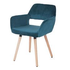 Chaise de salle à manger HWC-A50 II, rétro ~ velours, bleu pétrole