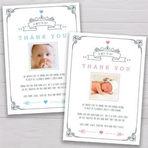 Personalised Christening Baptism Birthday Thank you cards Boy or Girl photo