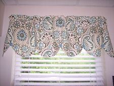 WAVERLY PAISLEY PRISM LATTE MODERN ESSENTIALS SCALLOPED BUTTONS Valance Curtains