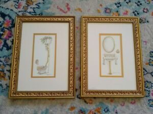 Peggy Abrams Pair of Gold Framed Bathroom Prints Victorian Sink Commode Toilet
