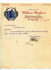 Vintage Illustrated Letterhead WILLIAM HUGHES SCRAP IRON & METAL Brooklyn 1902