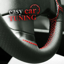 FOR FORD KA 96-08 BLACK PERFORATED GENUINE REAL LEATHER STEERING WHEEL COVER RED