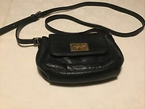 Michael Kors Black Leather Shoulder Bag Long Strap Pre Owned