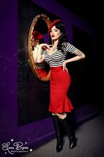 Pinup Girl Clothing Deadly Dames Kinky Ruffles skirt Red S EUC Rockabilly