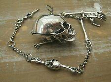 More details for gothic style solid silver vesta case skull & bones vesta watch case albert chain