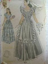 Vintage Hollywood BRIDAL WEDDING DRESS w/ BIB APRON Sewing Pattern Women Sz 12