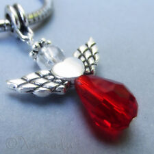 Ruby Red Crystal Angel European Charm Bead - Handmade Swarovski Crystal Pendant