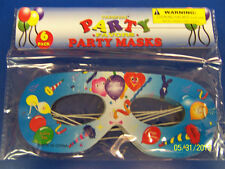 Happy Birthday Carnival Party Favor Masquerade Paper Eye Masks - Blue Balloons