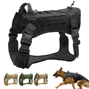 No Pull Tactical Dog Harness Military MOLLE Training Vest Large German Shepherd