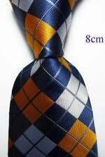 New Classic Checks Blue Orange White JACQUARD WOVEN Silk Men's Tie Necktie