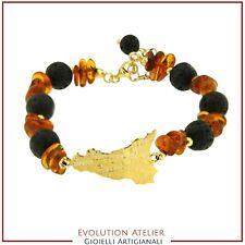Silver Bracelet 925% Lava Time Machine Volcano Etna and Amber Natural Sicily